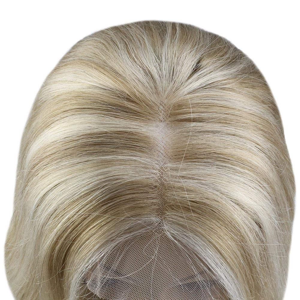 [Clearance]Real Human Hair Lace Front Wigs with Baby Hair Dark Ash Brown Highlight with Golden Blonde #16/22