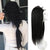 U Part Wigs Human Hair Clips with Clips Half Lace Wigs Silk Straight Natural Black #1b