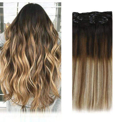 blonde and brown clip in hair extensions,