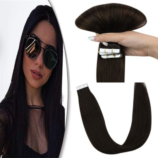 JoYoung Tape in Human Hair Extensions Soild Darkest Brown #2