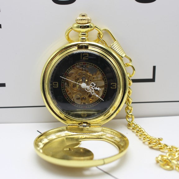 Gold Pocket Watch with Chains Engraved