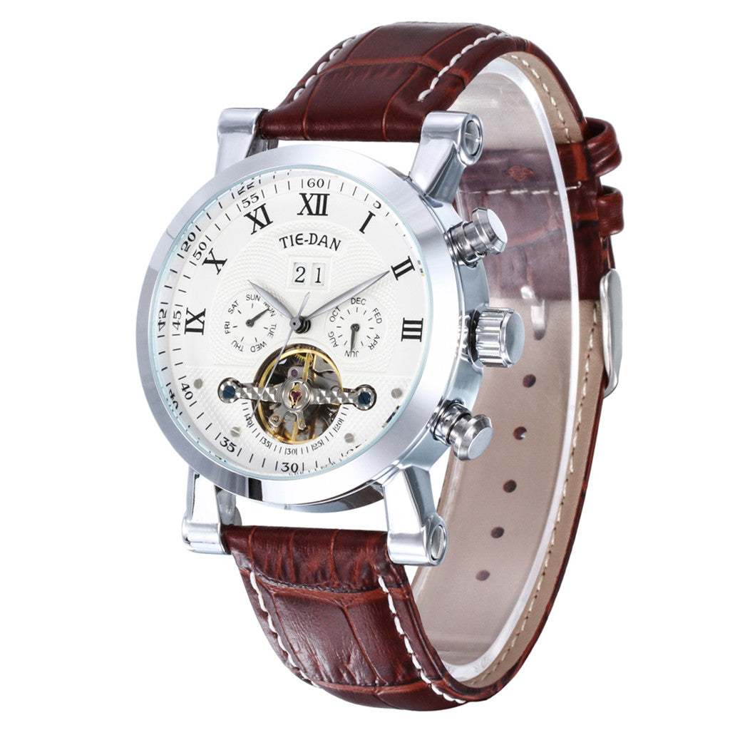 Mechanical Leather Men watch