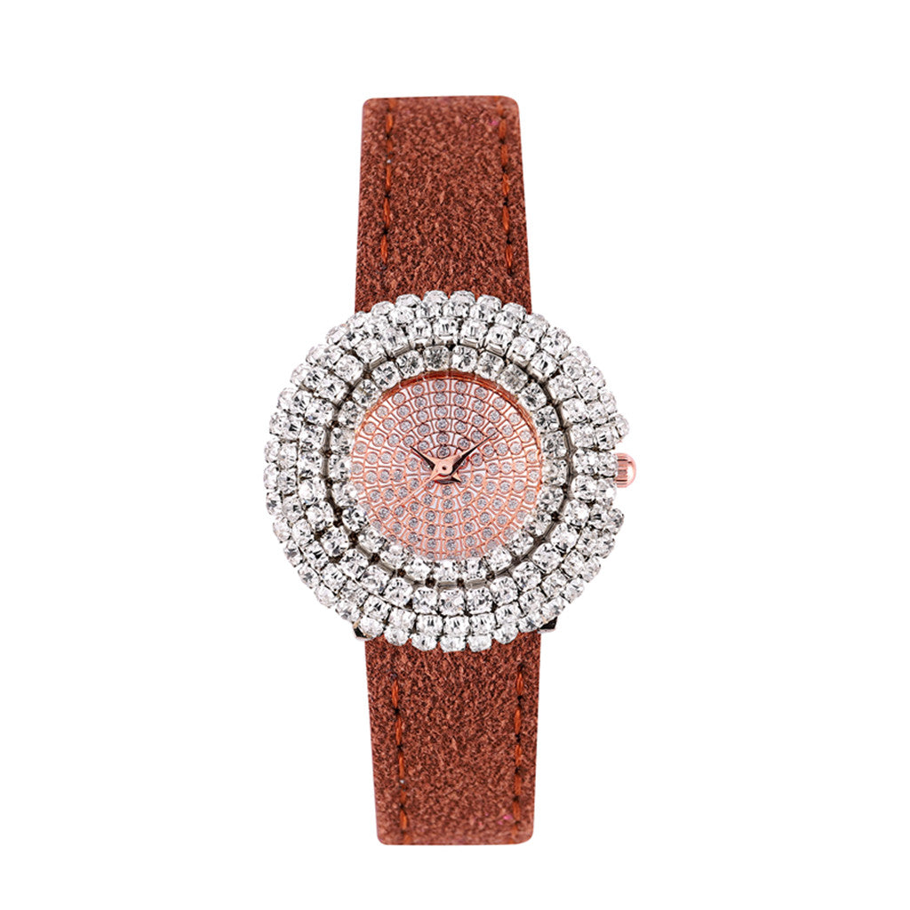 CRYSTAL WOMEN'S QUARTZ LEATHER WATCHES