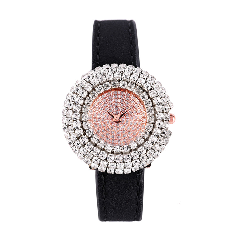 FASHION LEATHER CRYSTAL QUARTZ WATCH