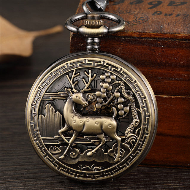 Bronze Flower Pattern Carving Mechanical Men Pocket Watch Hollow Skeleton Hand Wind chain