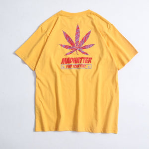 Hemp Leaf Printed Cotton Chao  T-shirt