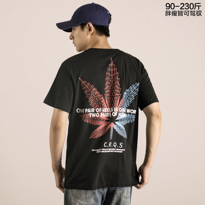 FMZXG summer trend brand color hemp leaf printing short sleeve T-shirt for men'