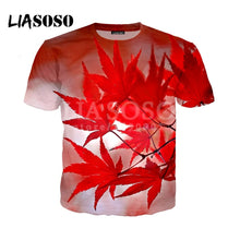 Load image into Gallery viewer, Fashion Casual Red Maple Leaf Green Hemp Leaves 3D Print LIASOSO 2018