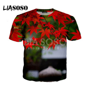 Fashion Casual Red Maple Leaf Green Hemp Leaves 3D Print LIASOSO 2018