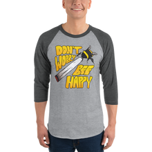 Load image into Gallery viewer, Don't Worry Bee Happy - 3/4 sleeve raglan shirt