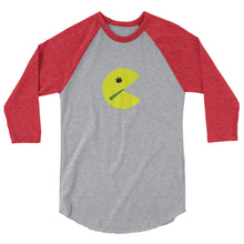Load image into Gallery viewer, Pacman Smoking a Joint - 3/4 sleeve raglan shirt