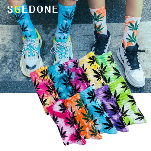 High-quality Tie-dyed Maple Leaf Socks Long Fashion Weed Socks Men Skateboard Hiphop Socks Meias Women Couple Cotton Socks 1Pair