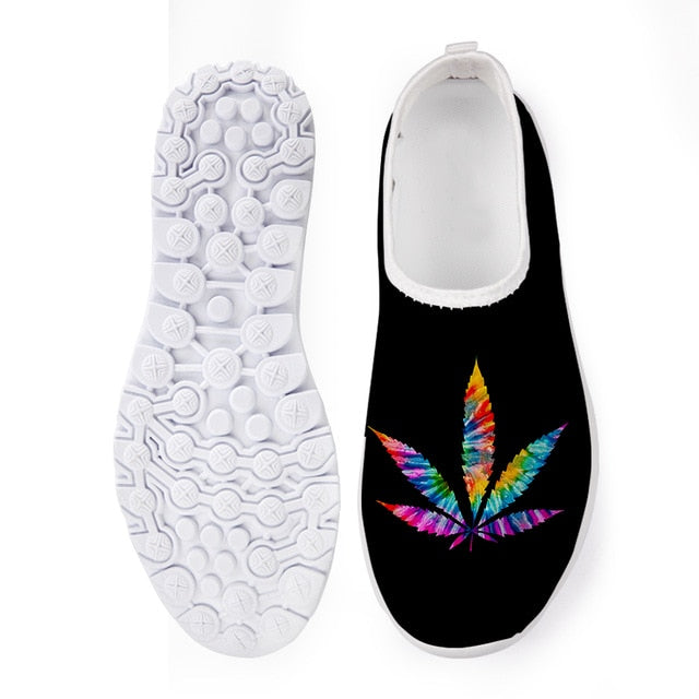 INSTANTARTS Cannabis Leaf Designer Mesh Slip On Vulcanized Shoes Super Light Women Loafers for Summer Beach Spring Flats Sneaker
