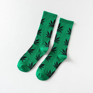 Funny Socks Men Comfortable High Quality Cotton Happy Marijuana Leaf Maple Casual Long Weed Crew Sock Hip Hop Dress Harajuku