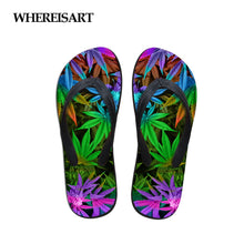 Load image into Gallery viewer, WHEREISART 2020 Women Shoes Summer Beach Slippers Rubber Vogue Flip Flops Girls Sneakers 3D Print With Cannabis leaf Pattern