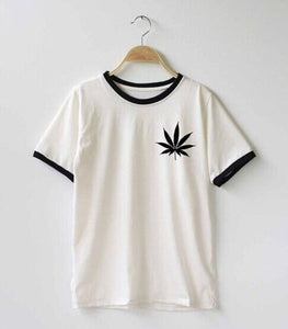 Women Weed Plant Marijuana Cannabis Leaf Funny Top Slogan Graphics Floral  Cotton Letter White Crew Neck Tee T-Shirt