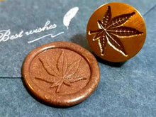 Load image into Gallery viewer, Cannabis Leaf Wax Seal Stamp/custom wax seal stamp kits /Leaves wax sealing stamp wedding/ Personalized wax seal stamps