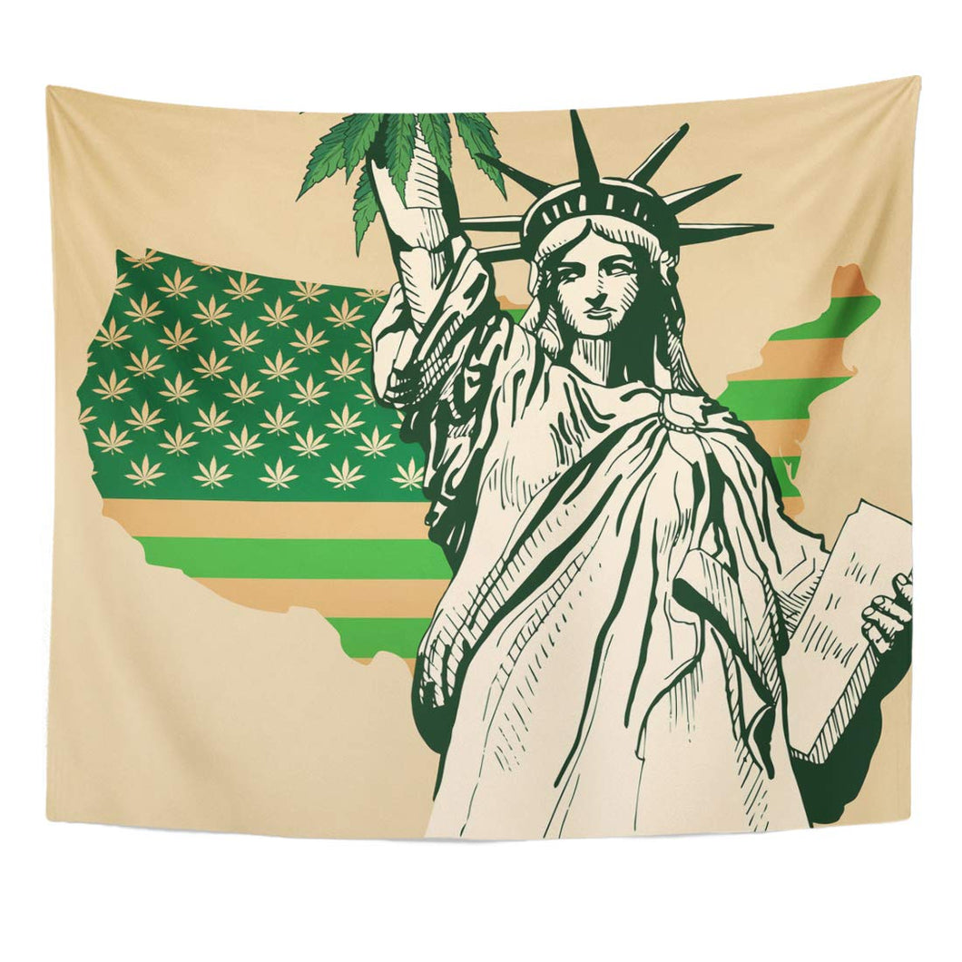 Weed Marijuana USA Map As Green Flag with Cannabis Leaf Statue of Librety Legal Pot Tapestry Home Decor Wall Hanging Decor
