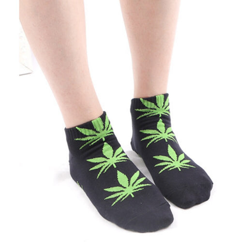 High Quality Men Women Cotton Ankel Socks Marijuana Leaf Casual Short Weed Sock Sweat Breathable Art Socks Unisex Short Sock