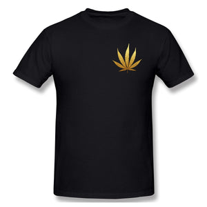 New Summer Cotton Funny T Shirts Short sleeves T-shirt Golden Glitter Foil Cannabis Leaf Silhouette Men Tops Tees