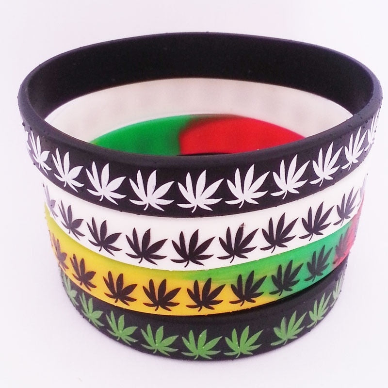Fashion Silicone Wristbands Leaf Marijuana Cannabis Jamaica Weed Bob Rubber Bracelet