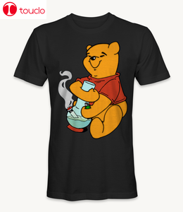 Smoke Winnie-The-Pooh Marijuana Cannabis Weed 420 Funny Cartoon Black T-Shirt