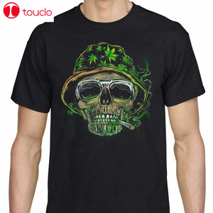 Weed Leaf T Shirt Cannabis Vintage Marijuana T-Shirt Stoner Skull Men Black Tee