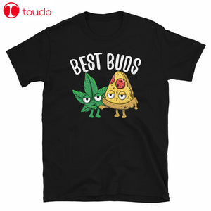 Cannabis Pizza Best Buds Marijuana 420 Weed Smoke Stoner Funny Black T-Shirt