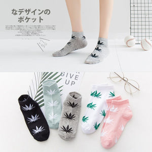 1 pair Men's Fashion Business Ankle Socks Weed Hemp Cotton Socks Street Fashion Skateboard Couple Women  Harajuku Trend Socks
