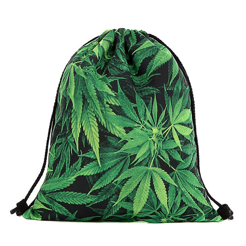 2016 New-3D Digital Printing Hemp Fimble Leaf Drawstring Bag Cannabis Marijuana Environmentally Friendly Shopping Pouch