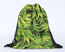 Load image into Gallery viewer, 2016 New-3D Digital Printing Hemp Fimble Leaf Drawstring Bag Cannabis Marijuana Environmentally Friendly Shopping Pouch