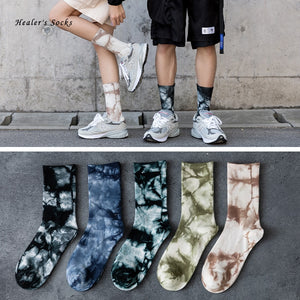 New Fashion Couples Men and Women Socks Cotton Colorful Vortex Tie-dye Harajuku HipHop Skateboard Funny Happy Weed Tube Socks