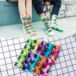 Fashion Tie-dye Men and Women Ankle Cotton Socks Color Maple Leaf Female Cheap Funny Happy Weed Skateboard Hip Hop Tube Socks