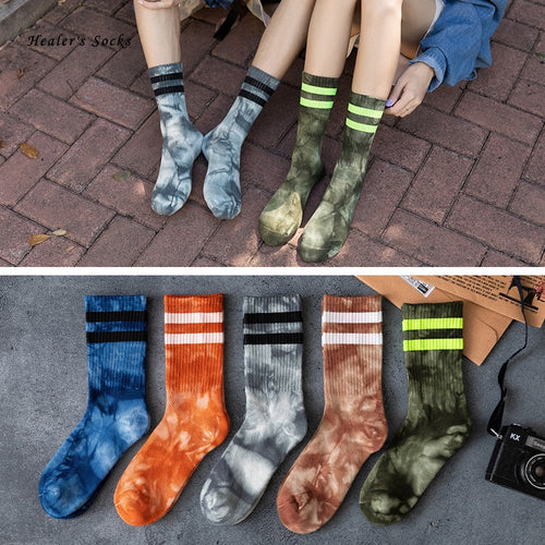 New Fashion Men and Women Socks Cotton Colorful Two-Bar Tie-dye Harajuku Skateboard Funny Street HipHop Happy Weed Tube Socks