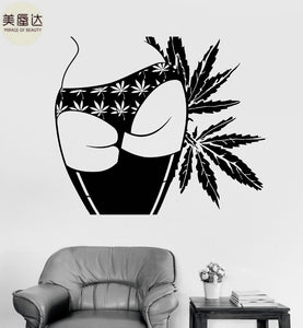 Vinyl Wall Decal Sexy Girl Butt Marijuana Hemp Weed Cannabis Stickers