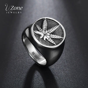 UZone Vintage Weed Hemp Cannabis Leaf Ring 316L Stainless Steel Retro Maple Leaf Signet Ring For Men Punk Jewelry Size 8-13
