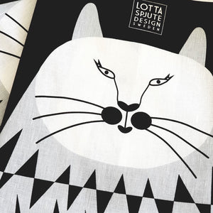 HALF LINEN TEA TOWEL CAT
