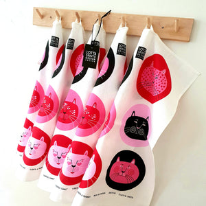 LARGE TEA TOWEL PINK CATS