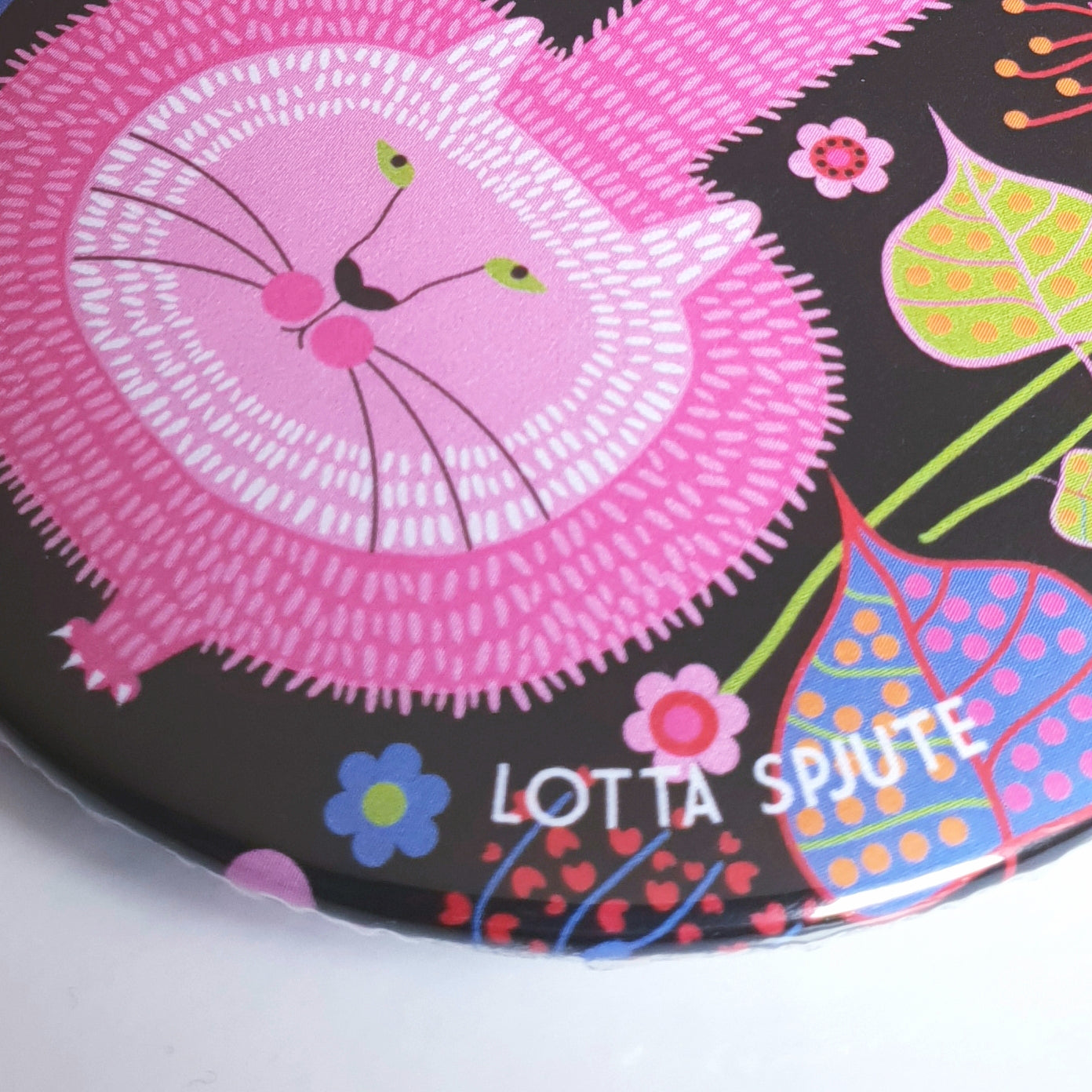 POCKET MIRROR PINK FLORAL CAT