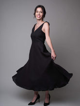 Load image into Gallery viewer, A Lovely Dance V-Neck Dress in Black - capsulebyedith