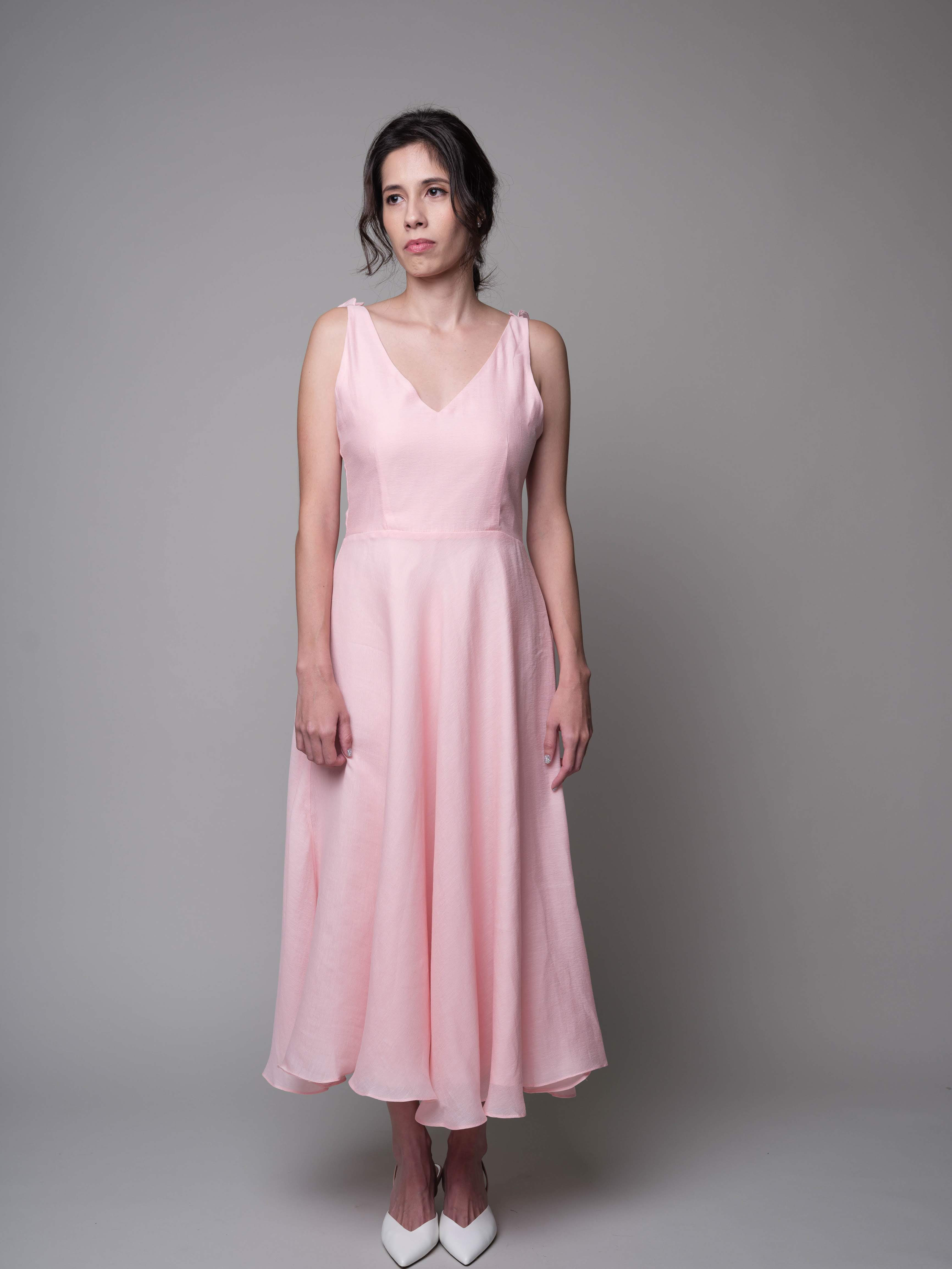 A Lovely Dance V-Neck Dress in Pink - capsulebyedith