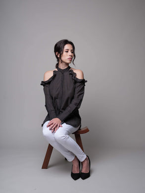 Pair Me Up Cold Shoulder Blouse in Black - capsulebyedith