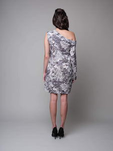 Anna One Shoulder Printed Shift Dress in Grey - capsulebyedith