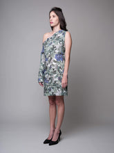 Load image into Gallery viewer, Anna One Shoulder Printed Shift Dress in Green - capsulebyedith