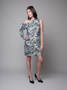 Anna One Shoulder Printed Shift Dress in Green - capsulebyedith