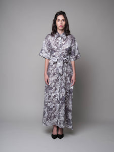 Palm Sunday Oversized Shirt Dress in Grey - capsulebyedith
