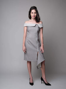 It's Friyay! Off Shoulder Dress in Grey - capsulebyedith
