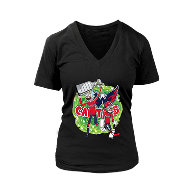 bf0e2af93 NHL Washington Capitals Stanley Cup Rick And Morty Women s V-Neck-District  Womens V