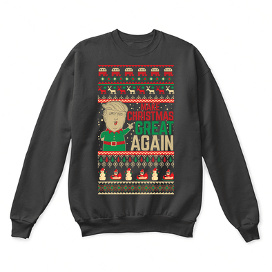0f782048b85 Make Christmas Great Again Funny Donald J. Trump Quoted Ugly Sweater-Crewneck  Sweatshirt-