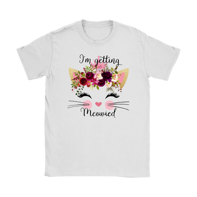 72c61703 I'm Getting Meowied Watercolor Flower Cat Lady Get Married Shirts-Gildan  Womens T